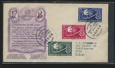 Costa  Rica  1950   UPU stamps  first  day cover               KEL0914