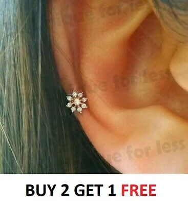 Snowflake Flower Crystal Plated Tragus Helix Bar Cartilage Ear Earring Screw On