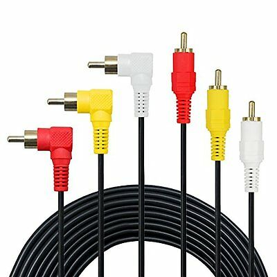 3 RCA Cable 6FT Premium Gold Plated 90 Degree Right Angle Audio Composite Video