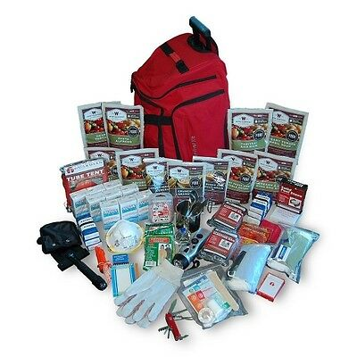 2 Week Deluxe Emergency Survival First Aid Bag Kit with Food & Water for 1 Perso