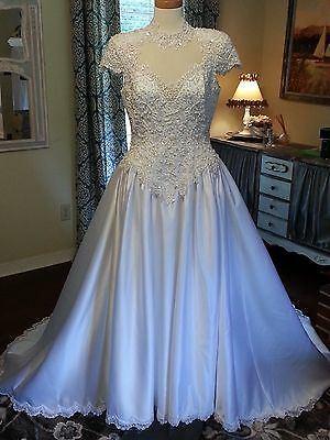 Vintage Wedding Dress, beaded lace with high neck and capped sleeves