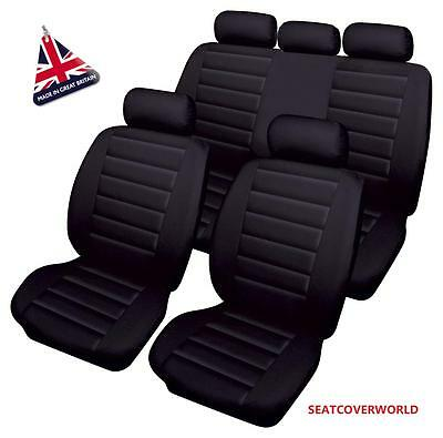 JEEP BLACK LEATHER LOOK CAR SEAT COVERS FULL SET Cherokee Commander Compass