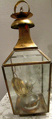 Vintage Brass Etched Glass Hanging Nautical Ship Maritime Oil Lantern Lamp