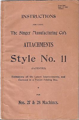 Original 1898 Singer 27-28 Sewing Machine Style 11 Attachment Manual-puzzle box