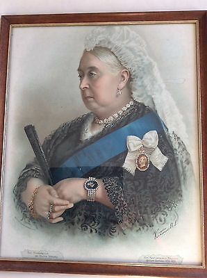 Queen Victoria 1897  Jubilee large framed coloured print