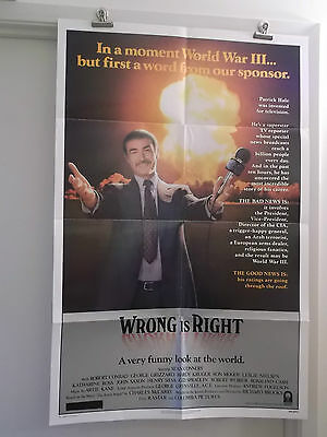 WRONG IS RIGHT one 1 sheet movie poster SEAN CONNERY 1982 original