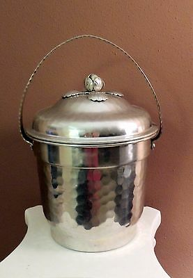 Vintage Ice Bucket with Flower Motif World Hand Forged Hammered Aluminum