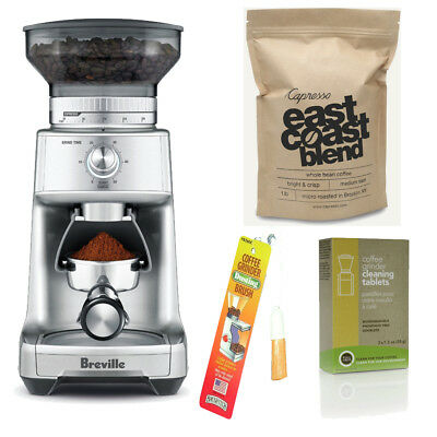 Breville BCG600SIL Burr Grinder + Coffee, Cleaning Tablets and Dusting Brush