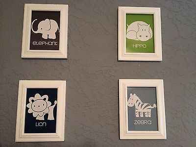 4 Framed Prints, art for nursery decor - Elephant, Hippo, Lion, Zebra