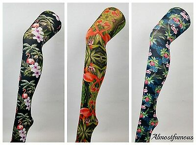 Patterned Tights Printed Funky Rainbow  Alternative Suspender Bright Fun Colours