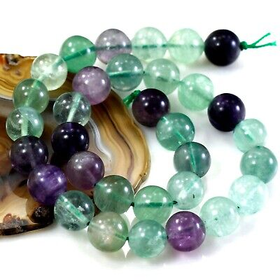 """16x16mm Multi-Color Natural Fluorite Round beads 15"""" (FL27)d"""