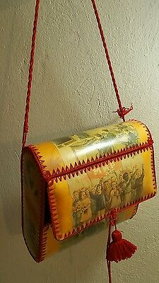 VINTAGE 1960's BOX SHOULDER BAG SCHOOL HANDMADE NEEDLEWORK PURSE RUSSIA CCCP