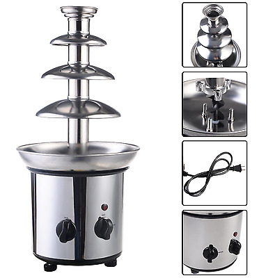 Chocolate Fondue Fountain Serve Hot 4 Tiers Commercial Stainless Steel Nostalgia