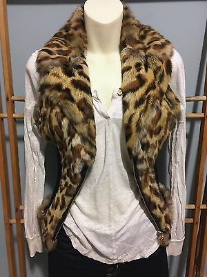 GUESS Leopard Genuine Real RABBIT FUR VEST w/ Leather, Size S