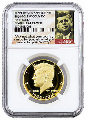 2014-W 50c High Relief Gold Kennedy Half Dollar NGC PF69 UC (Ask Not) SKU38827