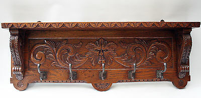 Coatrack antique solid oakwood wood carved