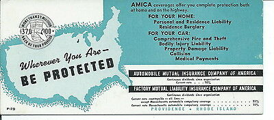 J-222 - Automobile Mutual Insurance Co of America Advertising Ink Blotter 1960's