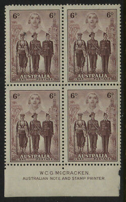 Australia SG #199 - 6d McCracken Imprint Block of 4 MNH ( Some specks on gum )