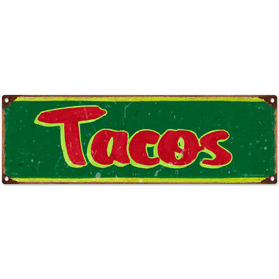 Tacos Metal Sign Distressed Vintage Style Mexican Restaurant Kitchen 18 x 6