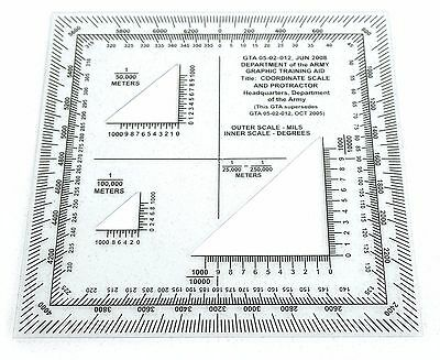 US Army NATO Map Navigation Hiking Coordinate Scale & Protractor GTA 05-02-012