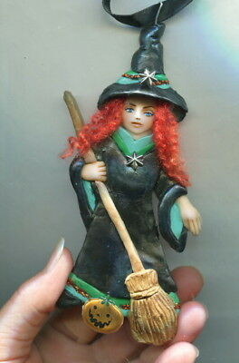 OOAK Halloween Witch Pumpkin Ornament Zuzanna Mini Art Doll Fairy Sculpt Biel