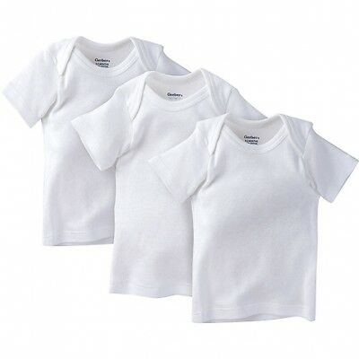 Gerber Unisex 3-Pack White Slip-on Short Sleeves Shirts Size 0-3M BABY SHOWER