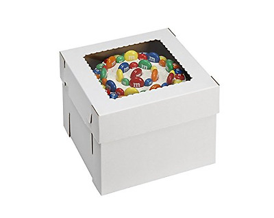"""W PACKAGING WPCKB108 Cake Box with Window, E-Flute, 10"""" x 10"""" x 8"""", White (Pack"""