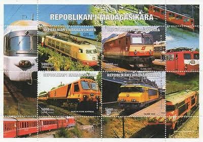Train Railway Travel Repoblikan'i Madagasikara 1999 Mnh Stamp Sheetlet