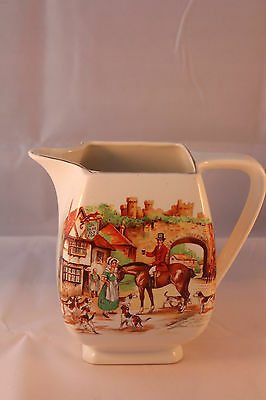 LANCASTER & SONS 1920c WATER JUG ENGLISH WARE THE SLY OLDE FOX HUNTING ANTIQUE