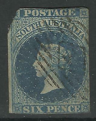 South Australia Qv Six Pence Imperf Used