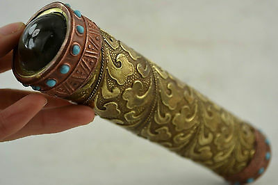 Old Decorated Handwork Copper Carving Flower Inlay Turquoise Beads Kaleidoscope