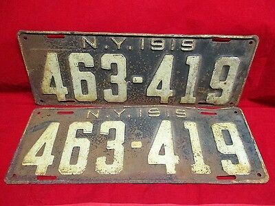 Vintage 1919 NY State Car Automobile License Plate Pair 463 419 All Original