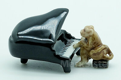 Figurine Animal Dollhouse Miniature Ceramic Brown Monkey Playing Piano - FG086