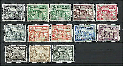 Turks & Caicos Islands 1938/45 Set to 1/- (13) Mounted Mint SG194/202a
