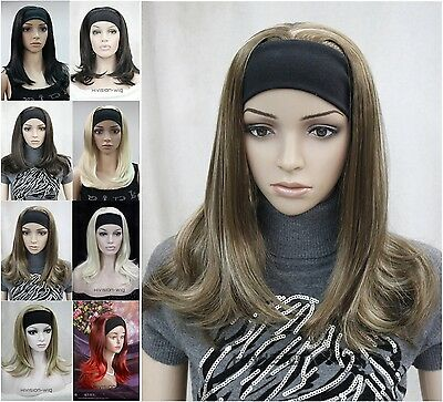 8 colors 3/4 half wig Long Straight women Lady headband Hivision #E-MONACA