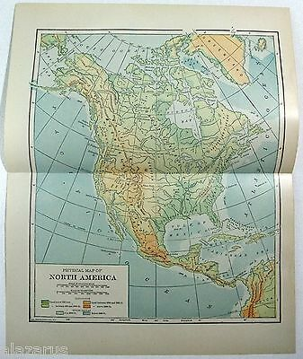 Original 1914 Physical Map of North America by L. L. Poates.