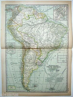 Original 1902 Map of South America - A Nicely Detailed Color Lithograph