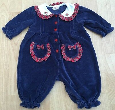 Gorgeous Vintage Velour Romper Sailor Collar Tartan Trim Bows Christmas 3-6 Mths