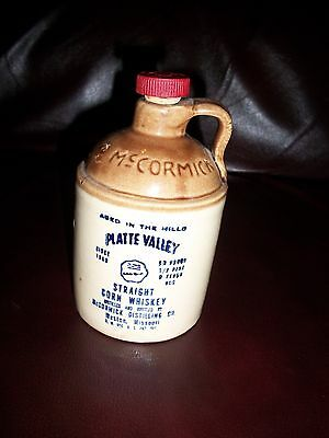 McCormick Platte Valley Straight Corn Whiskey 1/2 Pint Stoneware Jug (Empty)