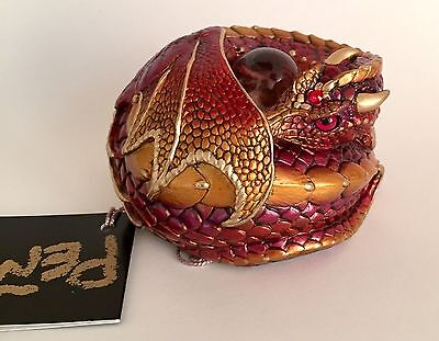 Windstone Editions Rare V1 Violet Flame Curled Dragon Statue Figurine