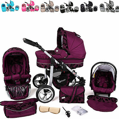 Baby Pram Stroller Pushchair CAR SEAT Carrycot Travel System Buggy SWIVEL WHEELS