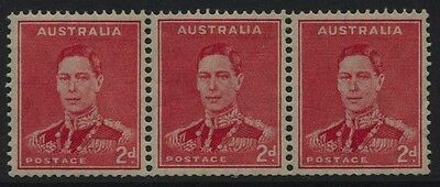 Australia SG #184w - 2d Inverted Wmk MNH strip of 3 ( corner crease ) £45+