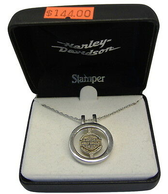 Harley-Davidson Womens B&S High Polished Round Sterling Silver Necklace #HN7428