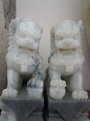 "Chinese Foo Dogs, bookends, soap stone, on base 7 1/2"" tall[ups]"