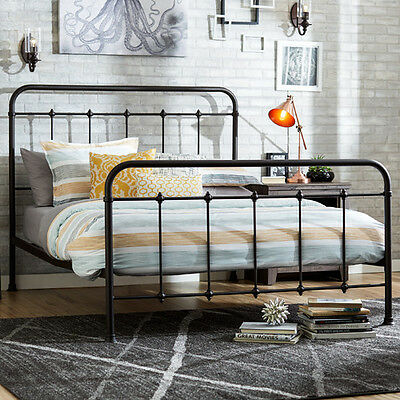 antique iron bed queen size rustic farmhouse vintage headboard footboard bedroom