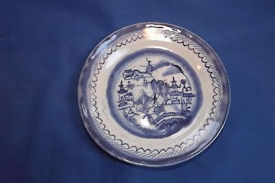 Antique 19thc. Chinese Export Porcelain Blue & White Canton Sign CHINA  Plate