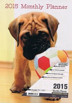 Puppy Dog 2015 Monthly Planner Calendar Appointment 40 Pages Book  Collectible