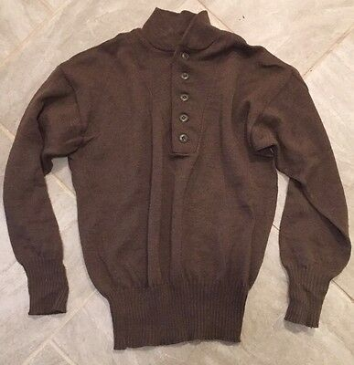 Mens Army 100% 5 button Wool Seater OD X-Large 46-48