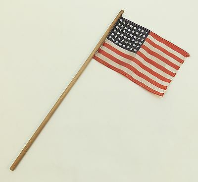 Antique US FLAG 48 Star Small WWII ERA Correct PARADE Flag 4x5 Inches  0202-3