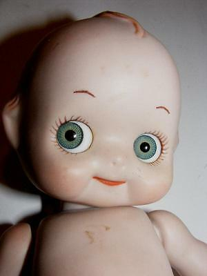 "ADORABLE Vintage Bisque Porcelain Jointed HUGE Googley Eyes KEWPIE DOLL 7"" tall"